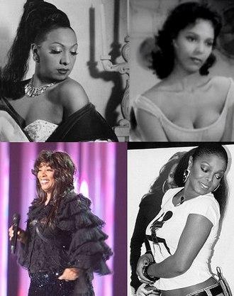 Pretty Girl Rock - Clockwise, from top left: Josephine Baker, Dorothy Dandridge, Janet Jackson and Donna Summer.