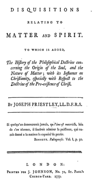 Disquisitions relating to Matter and Spirit - Title page from the first edition of Disquisitions relating to Matter and Spirit (1777)