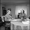 Prime Minister Pierre Trudeau with Gordon Sinclair, host of CFRB radio show, Let's Discuss It.jpg