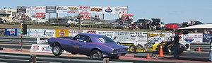 Drag racing - Camaro at launch, with Altered Vision in the right lane.
