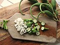 Proboscidea parviflora - double claw. chopped fresh green pod with onions 07.jpg