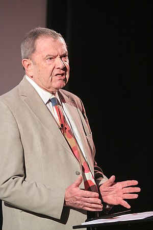 """Anthony King (political scientist) - King giving a talk on """"The Blunders of our Governments"""" at the Essex Book Festival, 2014"""