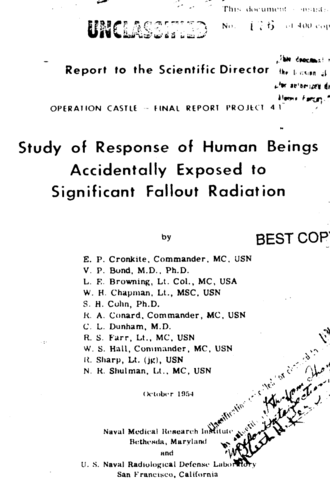 Unethical human experimentation in the United States - Cover of the final report of Project 4.1, which examined the effects of radioactive fallout on the natives of the Marshall Islands
