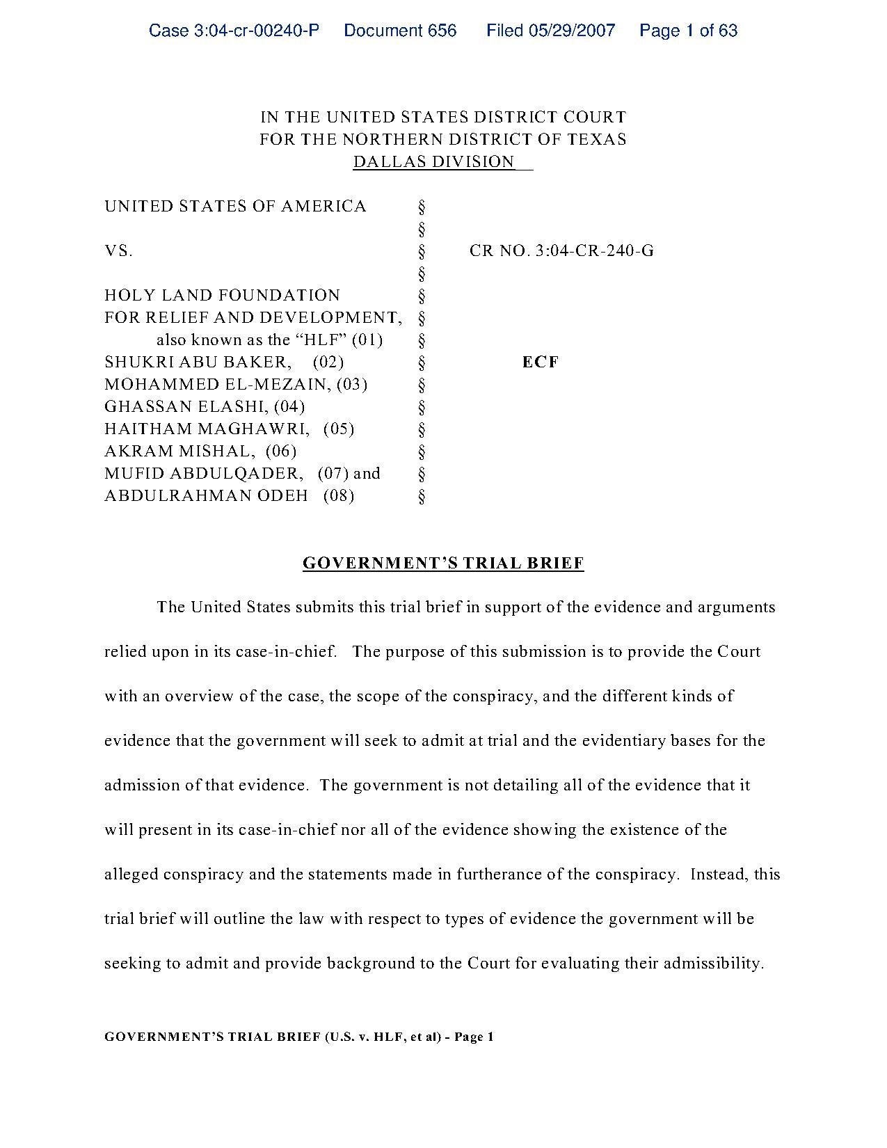 Fileprosecutions Trial Brief In The Holy Land Foundationpdf