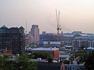 History of Providence, Rhode Island - New construction in Providence (August 2006): cranes seen for Waterplace Condominium towers, Westin addition, and the GTECH Corporation headquarters prior to completion