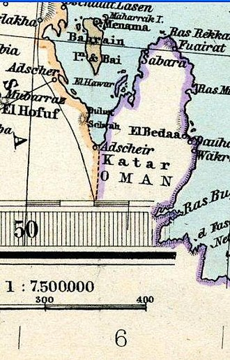 Qatar - Qatar in an 1891 Adolf Stieler map