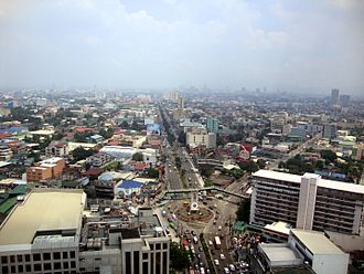 Quezon City - Aerial view of Quezon City with Welcome Rotonda in the foreground