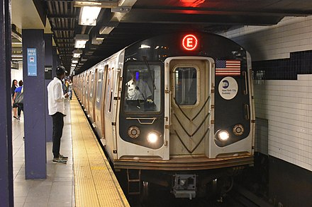 The New York City Subway is the world's largest rapid transit system by length of routes and by number of stations. R160A E Train entering World Trade Center.jpg