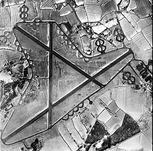 RAF Stansted Mountfitchet - Aerial photograph of RAF Stansted Mountfitchet looking north after a large snowstorm, 9 January 1947. The bomb dump is at the bottom