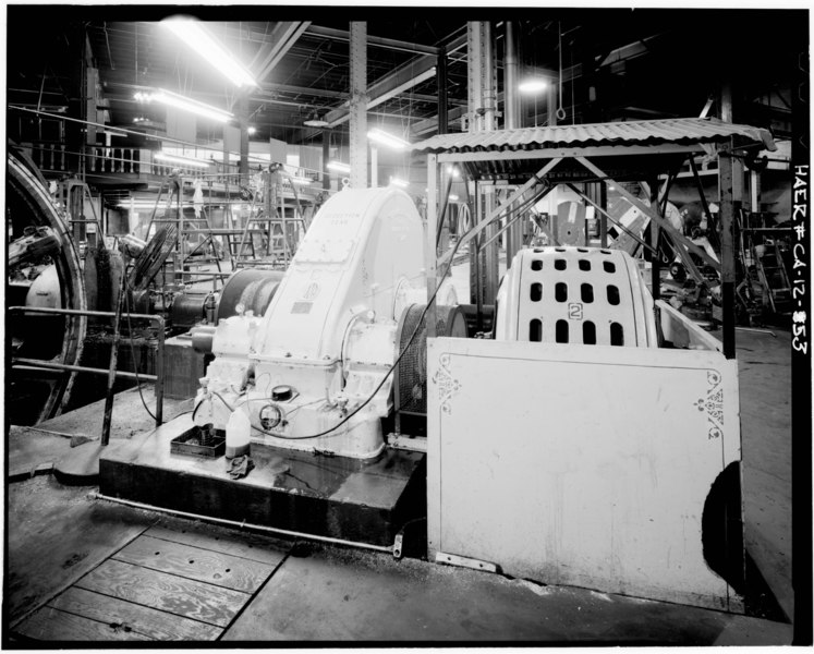 REAR OF MOTOR AND REDUCTION GEAR NO. 2- View towards northwest showing rear of Motor and Reduction Gear No. 2, installed in 1926. - San Francisco Cable Railway, Washington HAER CAL,38-SANFRA,137-53