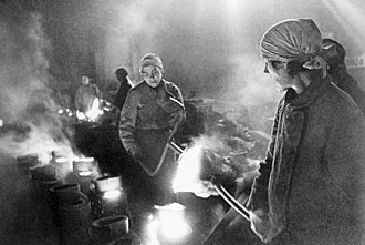 Military production during World War II - Russian women working in city factory at the height of the Siege of Leningrad.
