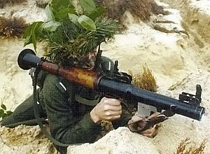 Arena (countermeasure) - The system is designed to defeat rocket propelled grenades, such as this RPG-7.