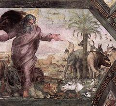 """""""Η δημιουργία των ζώων"""" του Ραφαήλ, 1518–1519, νωπογραφία που διακοσμεί το Βατικανό.  Ένας ρινόκερος εμφανίζεται στο δεξί τμήμα του έργου, μαζί με έναν ελέφαντα (πιθανώς ο ελέφαντας Χάνο του Πάπας Λέοντα Ι')."""