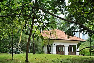Fort Canning Hill - Raffles' House, but not the original built by Raffles, which was a wood and atap structure.