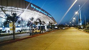 Ranchi - Night View of Terminal at Birsa Munda Airport, Ranchi .