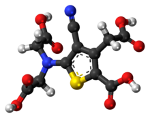 Ball-and-stick model of the ranelic acid molecule