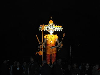 Ramlila - Ravana effigy during a Ramlila event.