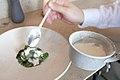 Raw Norwegian scallop, grilled sweet peas, Verbana (26633260963).jpg
