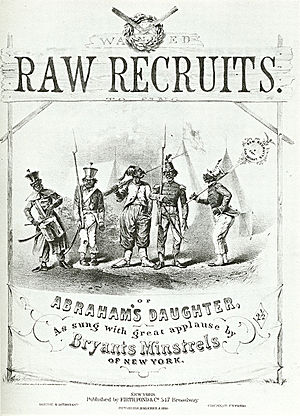 "Bryant's Minstrels - Sheet music cover for ""Raw Recruits"", a Bryant's song featuring racist stereotypes of black Union soldiers."