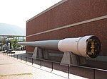 Rear view of the 16-inch gun from battleship Mutsu outside the Yamato Museum in October 2008.JPG