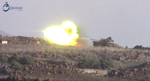 Golan Regiment - A rebel T-72 shoots at the government positions on Tal Kroum, which were held by the Golan Regiment at the time.