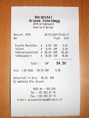 A receipt, obtained in Swiss mountain restaura...