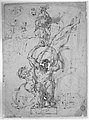 Reclining River God, a Goat's Head, and Studies of Heraldic Emblems (recto); Cavalier Standing on a Globe Supported by a Kneeling Giant (verso) MET 271295.jpg