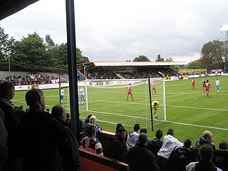 Recreation Ground (Aldershot) - South Stand viewed from the East Bank