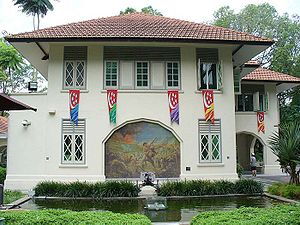 Kent Ridge Park - The war museum, Reflections at Bukit Chandu, at 31K Bukit Chandu. The mural on the museum's wall is an artist's impression of the Battle of Bukit Chandu.