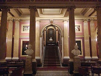 Reform Club - The Reform Club's italianate Saloon (stairs leading to the Gallery)
