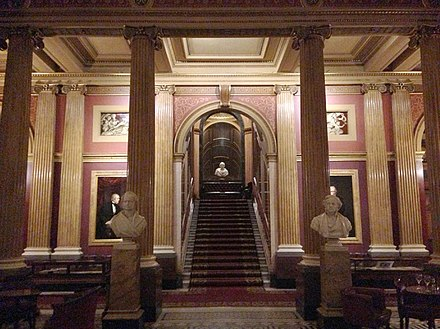 The Reform Club's italianate Saloon (stairs leading to the Gallery)