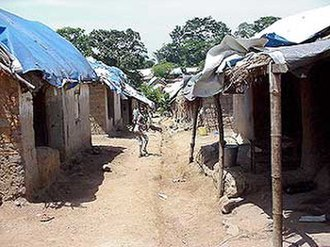 Refugee camp - A camp in Guinea for refugees from Sierra Leone.