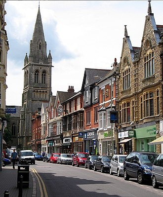 Rugby, Warwickshire - Regent Street with St Andrews Church