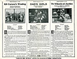 Release flier for KIT CARSON'S WOOING, 1911 ; DAD'S GIRLS, 1911 ; THE WHEELS OF JUSTICE, 1911.jpg