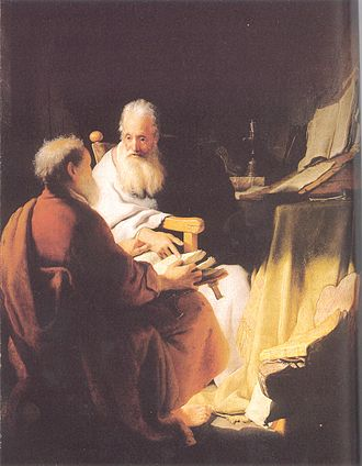 Paul the Apostle and Judaism - Rembrandt's Two old men disputing, 1628. This painting has been thought to depict Peter and Paul.
