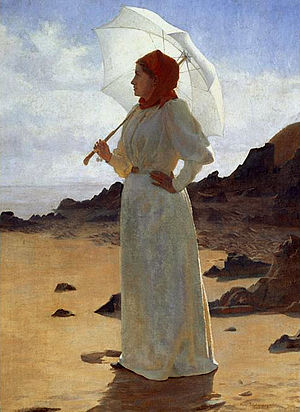 1890s in Western fashion - Standing woman in a white dress with leg o'mutton sleeves. By René Schützenberger, 1895.