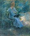 Renoir Jeune fille lisant dans un jardin, un chien sur les genoux.jpg
