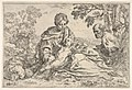 Rest on the flight into Egypt, Mary holding the infant Christ with St. Joseph at right, copy after Cantarini MET DP832104.jpg