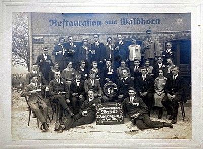Restauration zum Waldhorn, Tübingen, 24. April 1927, Foto von J W Hornung.JPG