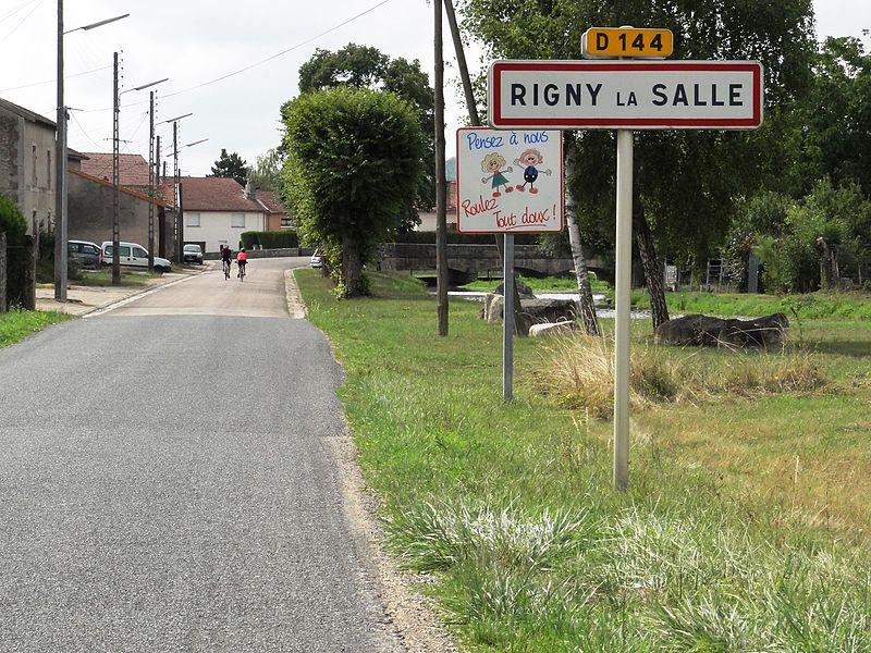 Rigny-la-Salle (Meuse) city limit sign