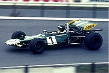 Rindt racing in a green Formula Two car with number 1 on its side