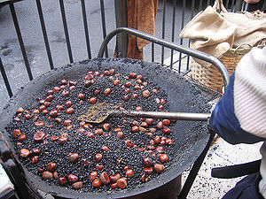 Hot salt frying - Chestnuts in hot black sand, prepared by a street-side hawker.