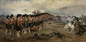 George Stewart (VC) - The 93rd Highlanders form the immortalised 'Thin Red Line' to repulse Russian Cavalry at the Battle of Balaklava, Crimea 25 Oct 1854, action in which Capt. Stewart was involved, painted by Robert Gibb