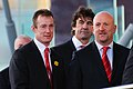 Robert Howley, Mark Davies and Shaun Edwards arrive. Wales Grand Slam Celebration, Senedd 19 March 2012.jpg