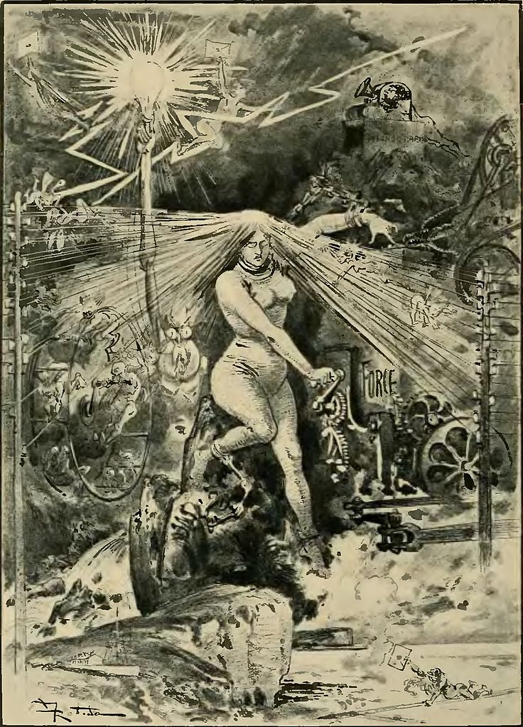 Albert ROBIDA - La vie électrique (1893) 736px-Robida_-_Le_Vingti%C3%A8me_si%C3%A8cle_-_la_vie_%C3%A9lectrique%2C_1893_%28page_10_crop%29