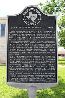 Rocksprings telephone company, rocksprings, texas historical marker (7906458768)