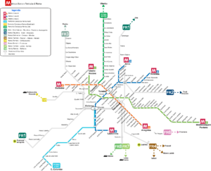 Rome Metro - Projected overview map of Rome Underground and Rail