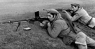 Patriotic Guards (Romania) - Patriotic Guards training. The soldiers were often equipped with World War II weapons, such as the ZB vz. 30 (center).