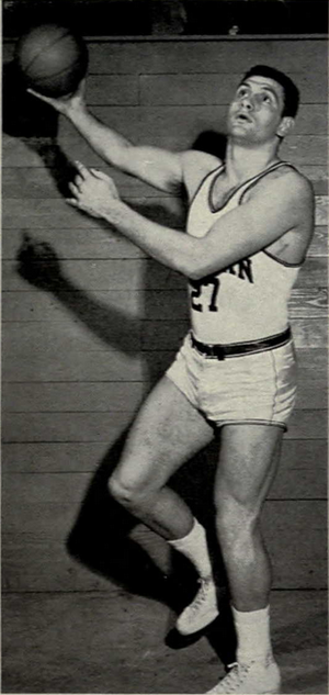 Ron Kramer - Kramer in basketball uniform, 1957