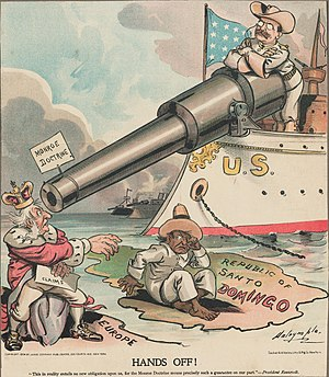 "Imperial German plans for the invasion of the United States - President Theodore Roosevelt uses US naval power to reduce European influence in the Americas. The sign on the gun barrel says ""Monroe Doctrine""."